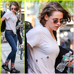 Kristen Stewart Steps Out with Holes Running Down Her Shirt