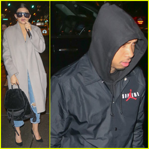 Kylie Jenner Arrives in Rainy New York City With Tyga