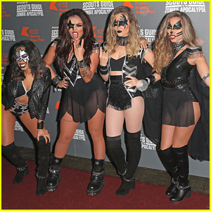Little Mix Dress Up As Kiss For KISS FM's Haunted House Party