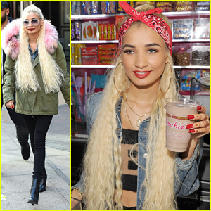 Pia Mia Creates Signature Milkshake At Archie's Milkshake Bar in Manchester