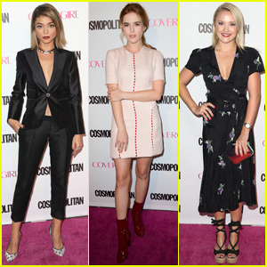 Sarah Hyland & Zoey Deutch Dress Up for Cosmo's 50th Birthday With Stefanie Scott