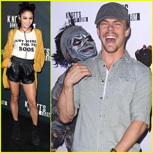 Derek Hough & Vanessa Hudgens Kick Off Halloween Season At Knott's Scary Farm