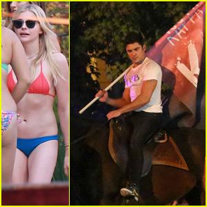 Zac Efron & Chloe Moretz Shoot Nighttime Party Scene for 'Neighbors 2'
