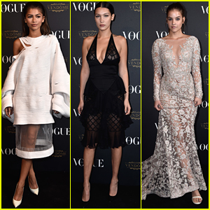 Zendaya Gets In A Supermodel Sandwich At Vogue's Anniversary Party In Paris