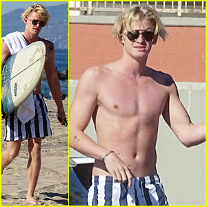 Cody Simpson Shows Off His Muscles & New Ride