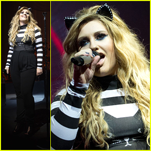 Ella Henderson Dresses As a Cool Cat For Cambridge Halloween Night Concert