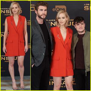 Jennifer Lawrence Travels to Madrid for 'Mockingjay Part 2' With Liam Hemsworth & Josh Hutcherson