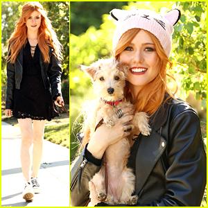 Kat McNamara Walks Pup Sophie Before Catching 'Mockingjay' Premiere
