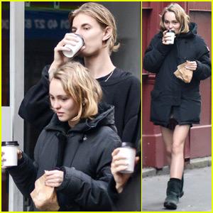 Lily-Rose Depp & Pal Walker Bunting Go For Paris Coffee Run