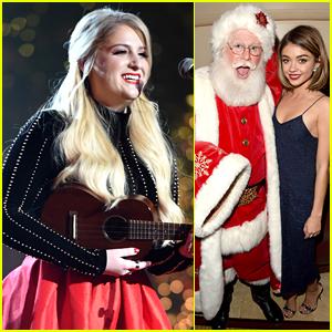 Meghan Trainor & Sarah Hyland Were Caught Kissing Santa Claus at The Grove Christmas Event