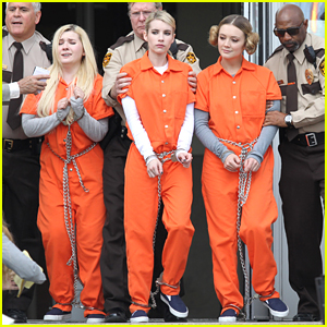 Emma Roberts & Abigail Breslin Trade In Pink Chic For Orange Jumpsuits On 'Scream Queens'