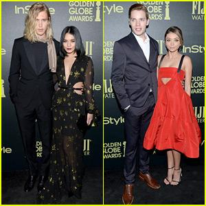 Vanessa Hudgens & Sarah Hyland Bring Their Boyfriends to Golden Globes Party