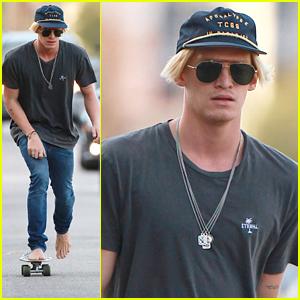 Cody Simpson Goes Skateboarding Barefoot