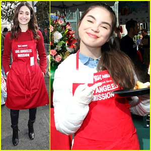 Landry Bender Hands Out Christmas Eve Dinner With LA Mission