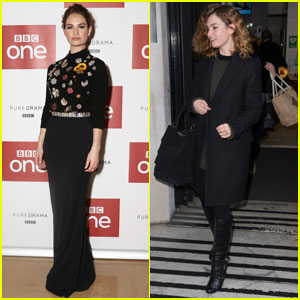 Lily James Steps Out for 'War & Peace' in London