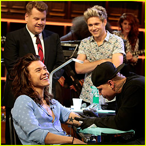 Harry Styles Gets a Tattoo Live on James Corden's Show - Watch Now!