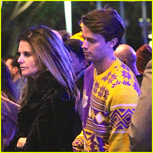 Patrick Schwarzenegger & Family Cheer On Lakers at Christmas Game