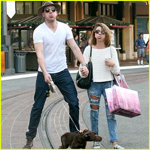 Sarah Hyland & Dominic Sherwood Bring New Puppy Boo Holiday Shopping