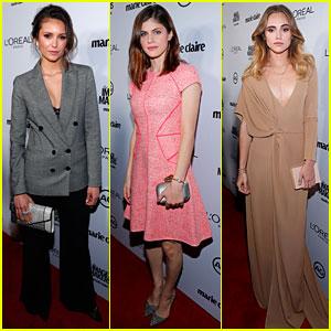 Nina Dobrev & Alexandra Daddario Honor Stylists at Marie Claire Image Maker Awards