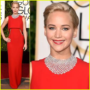 Jennifer Lawrence Is Ravishing in Red at Golden Globes 2016