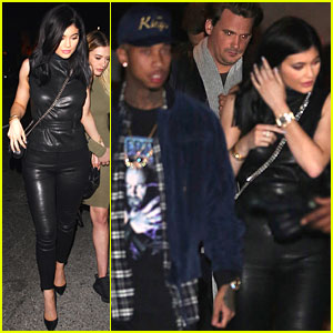 Kylie Jenner Wears All Leather for Date Night with Tyga