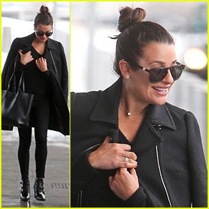 Lea Michele Rocks an All Black Look at JFK Airport