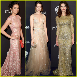 Nina Dobrev & Alexandra Daddario Look Stunning at InStyle's Golden Globes Party 2016