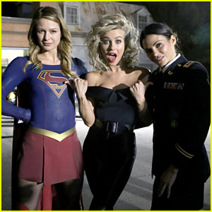 Melissa Benoist Wears Supergirl Costume to Visit Julianne Hough at 'Grease Live'