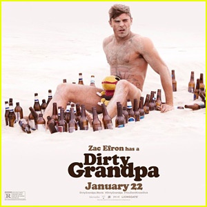Zac Efron Goes Shirtless on the Beach for 'Dirty Grandpa' Poster!