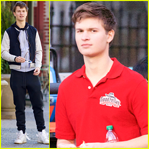 Ansel Elgort Delivers Pizzas On Set of 'Baby Driver'