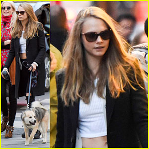 Cara Delevingne Takes Her Dog Along to Shop in Paris