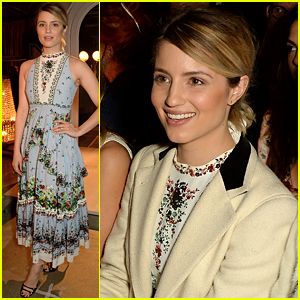 Dianna Agron Puts Engagement Ring On Display During LFW
