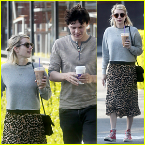 Emma Roberts & Evan Peters Meet Up For a Coffee Date