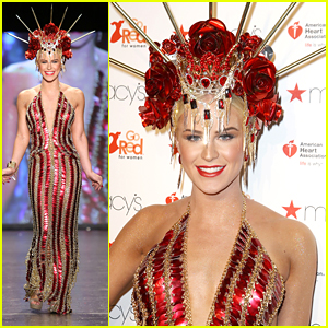 Gigi Gorgeous Wears Spiked Crown For Go Red For Women NYFW Show