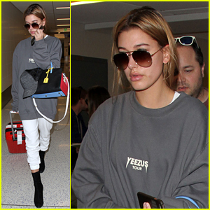 Hailey Baldwin Lands at LAX After A Successful NYFW