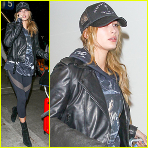 Hailey Baldwin Rocks Mesh Leggings for Her Departing Flight