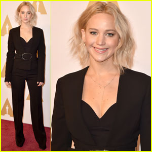 Jennifer Lawrence Flaunts a Fashionable Pantsuit at Academy Awards 2016 Nominee Luncheon