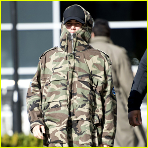 Justin Bieber Goes Camo Arrving in London Before BRIT Awards 2016