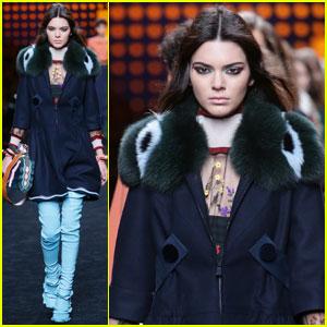 Kendall Jenner Smolders Her Way Down Fendi Runway in Milan