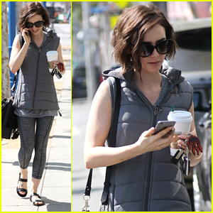 Lily Collins Shows Off Glittery Eye Shadow Before Sunday Workout