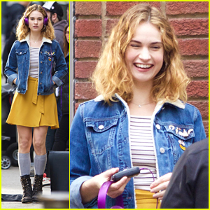 Lily James Wears Purple Headphones On 'Baby Driver' Set