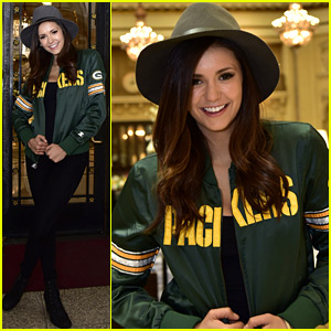 Nina Dobrev Cheers in the Stands at the Super Bowl!