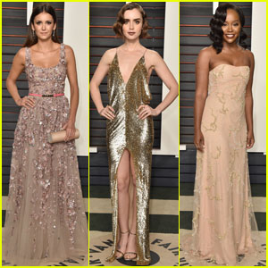 Nina Dobrev & Lily Collins Get Dolled Up for Vanity Fair's Oscars 2016 Party