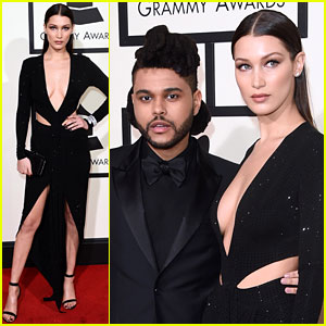 Bella Hadid Supports Boyfriend The Weeknd at Grammys 2016!