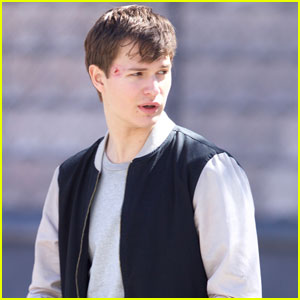Ansel Elgort Gets Roughed Up on 'Baby Driver' Set