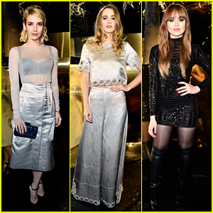 Emma Roberts Shines in Silver at H&M Fashion Week Show