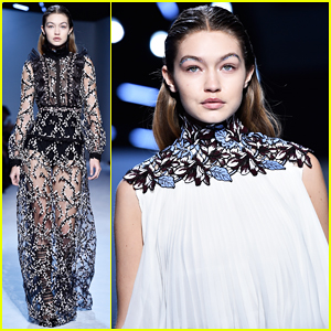 Gigi Hadid Continues Paris Fashion Week On The Giambattista Valli Runway!