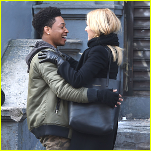 Jacob Latimore Hugs Kate Winslet On 'Collateral Beauty' Set
