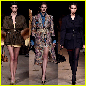 Kendall Jenner Walks in Miu Miu Show With Gigi & Bella Hadid