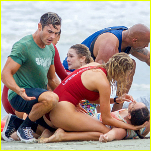 Zac Efron Pretends to Save Kids From Drowning for 'Baywatch'